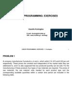 Linear Programming Exercises