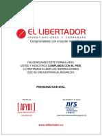 Formulario Persona Natural Arrendamientos La Estrella (Libertador)