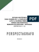 PIC ES-20-19 INFORME Estudio de Suelos Vivienda de 1 y 2 Niveles S. Giraldo - Sopetrán