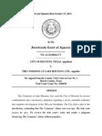 City of Houston v. The Commons at Lake Houston, Ltd., No. 14-18-00664-CV (Tex. App. Oct. 15, 2019)