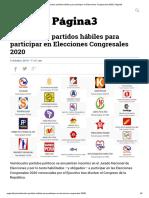 Veinticuatro Partidos Hábiles Para Participar en Elecciones Congresales 2020 _ Página3
