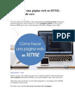 Cómo Hacer Una Página Web en HTML