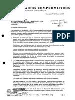 Carta Catolicos a Asamblea Constituyente 2018