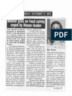 Peoples Tonight, Oct. 17, 2019, Master plan on food safety urged by House leader.pdf