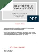 Uptake and Distribution of inhalational anaesthetics