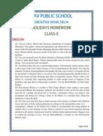 Class 10 Holidays Homework Davps 2019-20