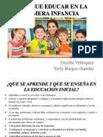 Para Que Educar en La Primera Infancia