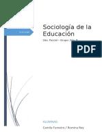 Sociología de La Educación - 2do. Parcial, Octubre 2019