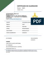Certificado Calibración Equipo Soldadura CAL_201