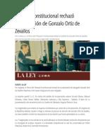 Tribunal Constitucional rechazó incorporación de Gonzalo Ortiz de Zevallos