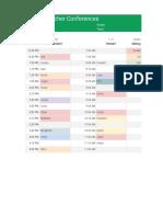 parent teacher conferences 2019 color coded - template