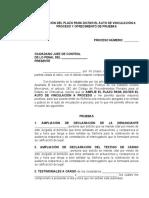 Ampliación Del Plazo Para Dictar El Auto de Vinculación a Proceso y Ofrecimiento de Pruebas