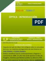 TEMA 7 - INTRODUCCIÓN A LA ÓPTICA