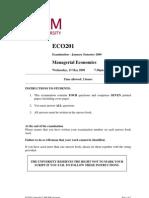 ECO201 Examination - January Semester 2009