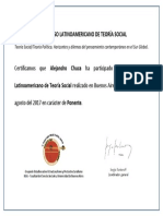 Certificado Congreso de Teoria Social Latinoamericano