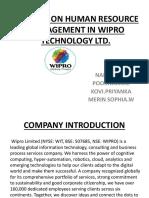 A Presentation on WIPRO- MBA 2020 BATCH
