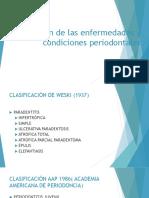 Clasificación de las enfermedades y condiciones periodontales