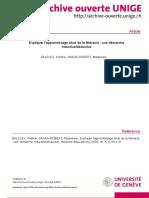Balslev & Saada-Robert (2002) Expliquer l'Apprentissage Situé de La Litéracie