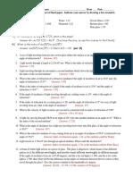 Snells Law Problem Set 1