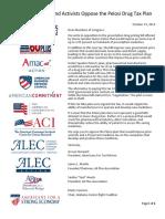 Coalition Letter Opposing Speaker Nancy Pelosi's Drug Tax Plan
