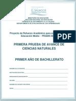 Primera prueba de avance de Ciencias Naturales - Primer A+¦o de Bachillerato - 2015