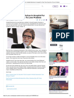 Just In_ Amitabh Bachchan in Hospital for Past Three Days Due to Liver Problem