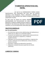 LOS DEPARTAMENTOS OPERATIVOS DEL HOTEL