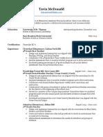 mcdonald tavia resume