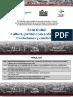 Memorias Foro Quito Cultura Patrimonio e Identidad