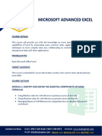 Advanced Excel Course Outline