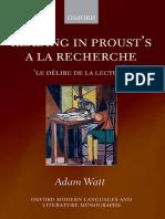 WATT, Adam - Reading in Proust's A la recherche