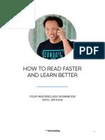 How to Read Faster & Learn Better by Jim Kwik Masterclass Workbook