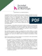 Comunicado de la Sociedad Venezolana de Mastología - Octubre 2019