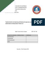 Implementación de Máquinas Purificadoras de Agua Pura, Para El Consumo de Colaboradores de Empacadora Toledo S.a.