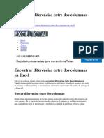 Encontrar Diferencias Entre Dos Columnas en Excel
