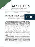 Helmántica 1956 Volumen 7 n.º 22 24 Páginas 3 67 de Grammatica Lucretiana Aspecto en Los Verbos Lucrecianos