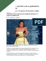 Oscar 2016 - Indicados & Vencedores