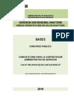 CONVOCATORIA CAS N° 009-2019 UNIDAD OPERATIVA RED DE SALUD HUAYTARA
