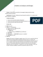 Documentation on Analysis and Design