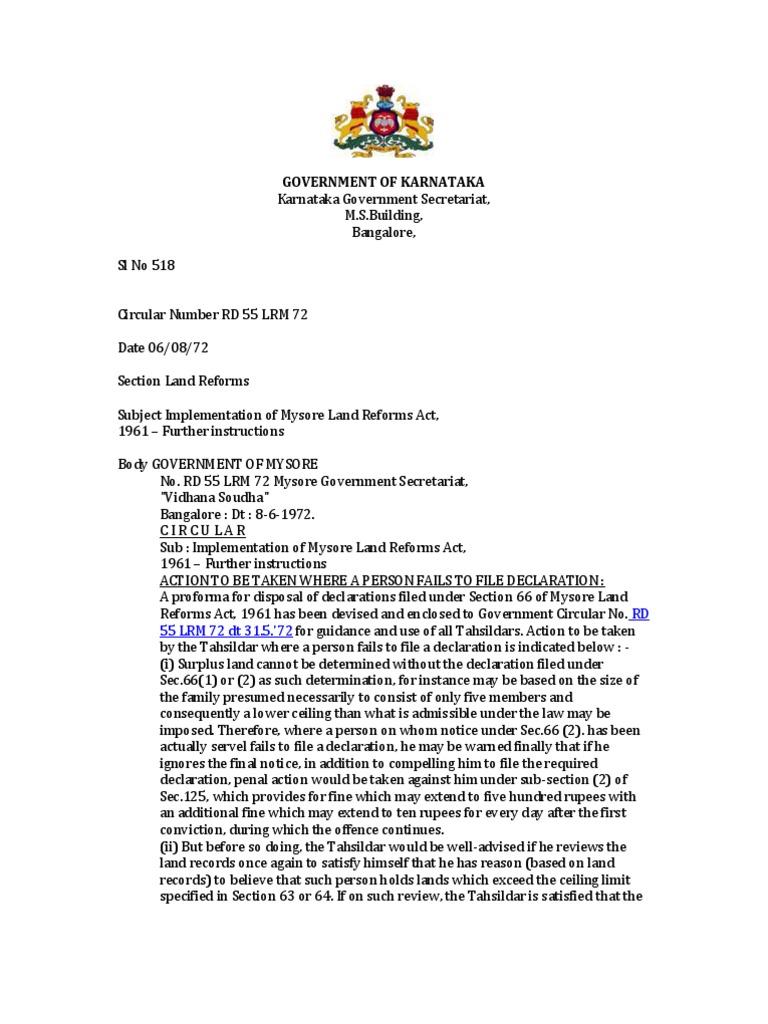Karnataka land reforms circulars collections lease trust law yadclub Gallery