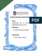 Deontologia Educacion y Democracia en La Etica