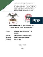 Informe Determinación de Coeficiente de Resistencia Para Accesorios -Mecanica de Fluidos Laboratori