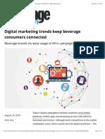 Digital marketing trends keep beverage consumers connected | 2019-08-14 | Beverage Industry