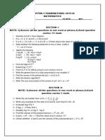 Maths Quarterly Examinations