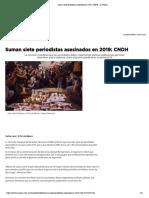 Suman Siete Periodistas Asesinados en 2019_ CNDH - La Prensa