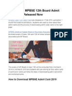 Check Your MPBSE 12th Board Admit Card 2019, Released Now