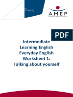 Intermediate Learning English Everyday English - Worksheet 1 Talking About Yourself