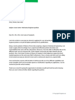 Cover Letter for Mechanical Engineer Fresher