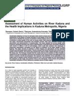 Assessment of Human Activities on River Kaduna and the Health Implications in Kaduna Metropolis, Nigeria