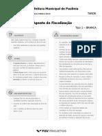 Fgv 2016 Prefeitura de Paulinia Sp Agente de Fiscalizacao Prova